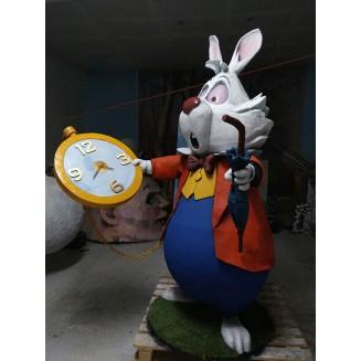 Escultura en resina,  Conejo Blanco, con reloj funcional