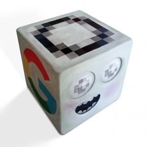 Cubo  de letras, realizado en madera policromada