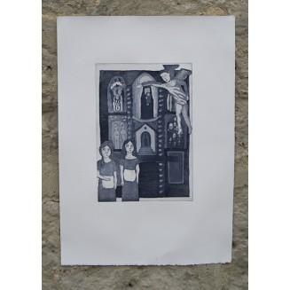 El retablo. Aguafuerte y Aguatinta. 25 x 35 cm. Aprox. Soporte papel. Disponible en otros colores.